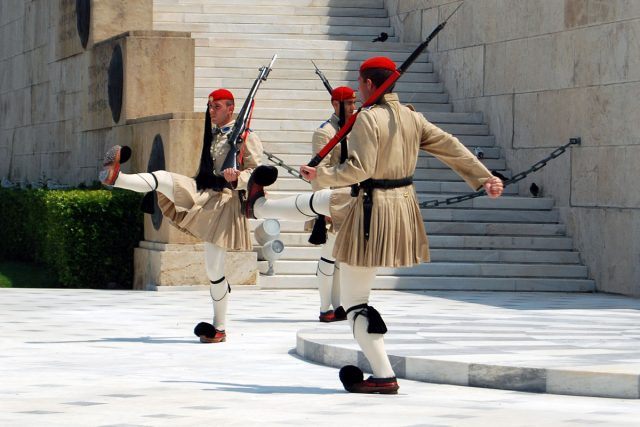 Changing the Guard in front of the Tomb of the Unknown Soldier, in Athens